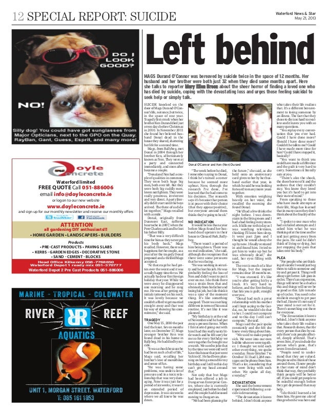 12 SPECIAL REPORT: SUICIDE Waterford News & StarMay 21, 2013��������� ����������� ����� ���� ��������������� �������������...