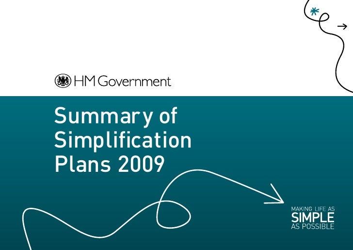 Summary of Simplification Plans 2009