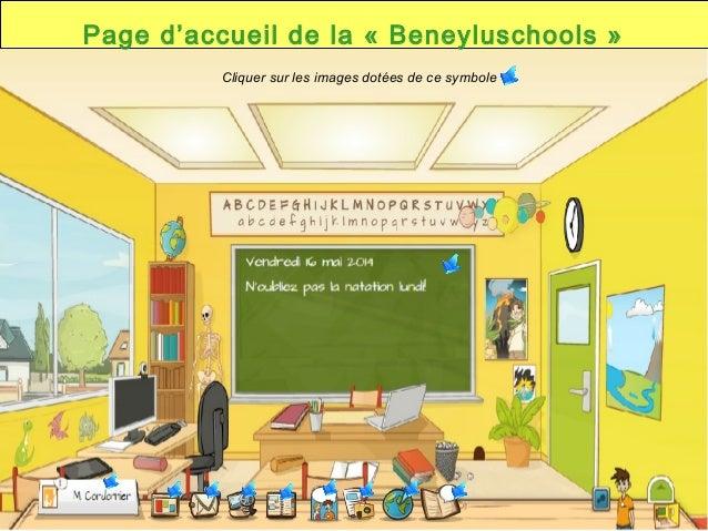 Page d'accueil de la «Beneyluschools» Cliquer sur les images dotées de ce symbole