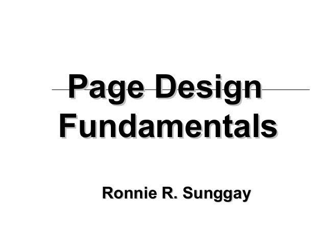 Page DesignFundamentals  Ronnie R. Sunggay