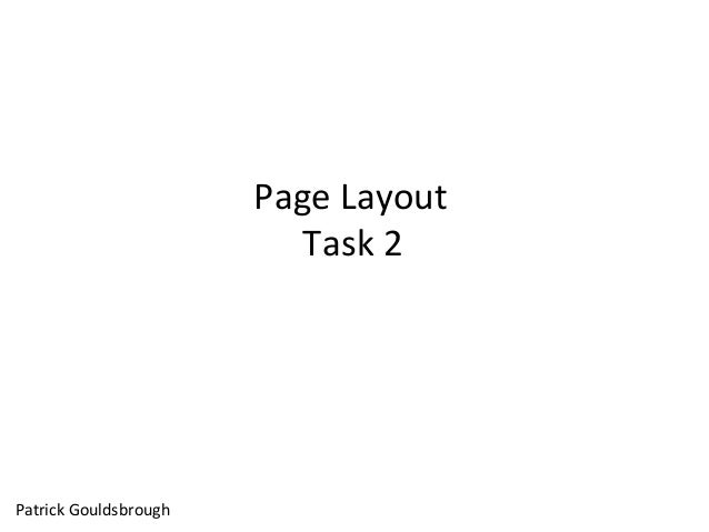 Page Layout Task 2 Patrick Gouldsbrough