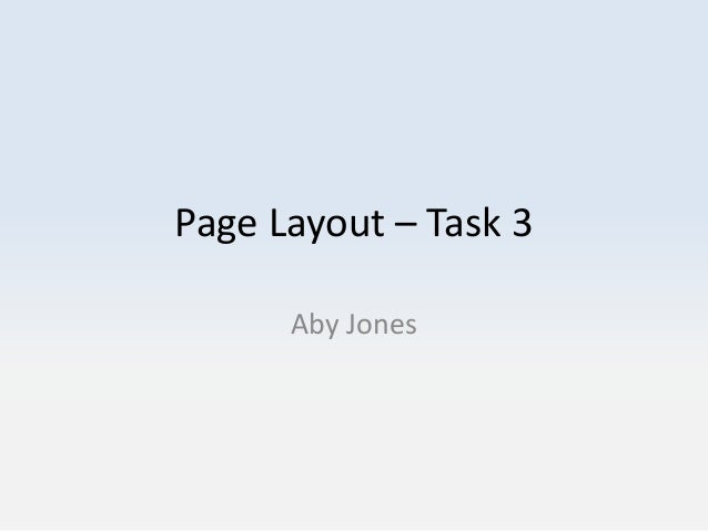 Page Layout – Task 3 Aby Jones