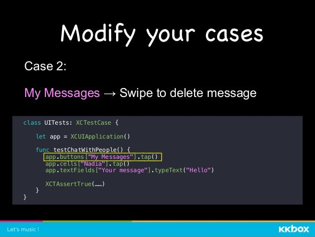 """class UITests: XCTestCase { let app = XCUIApplication() func testChatWithPeople() { app.buttons[""""My Messages""""].tap() app.c..."""