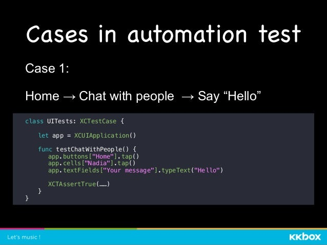"""Cases in automation test class UITests: XCTestCase { let app = XCUIApplication() func testDeleteMessage() { app.buttons[""""H..."""