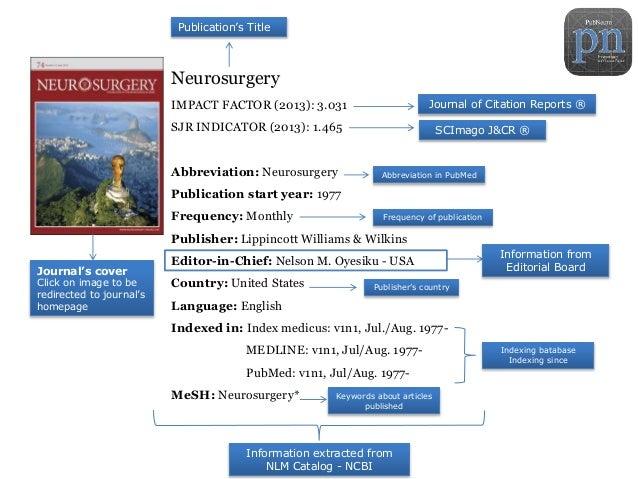 Neurosurgery IMPACT FACTOR (2013): 3.031 SJR INDICATOR (2013): 1.465 Abbreviation: Neurosurgery Publication start year: 19...