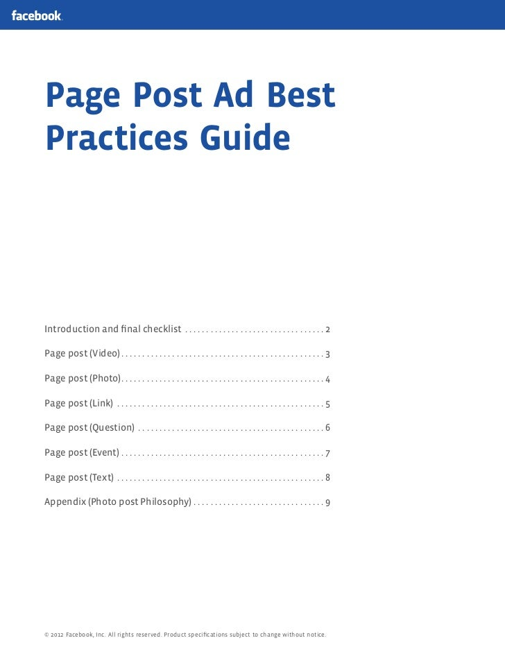 Page Post Ad BestPractices GuideIntroduction and final checklist . . . . . . . . . . . . . . . . . . . . . . . . . . . . . ...