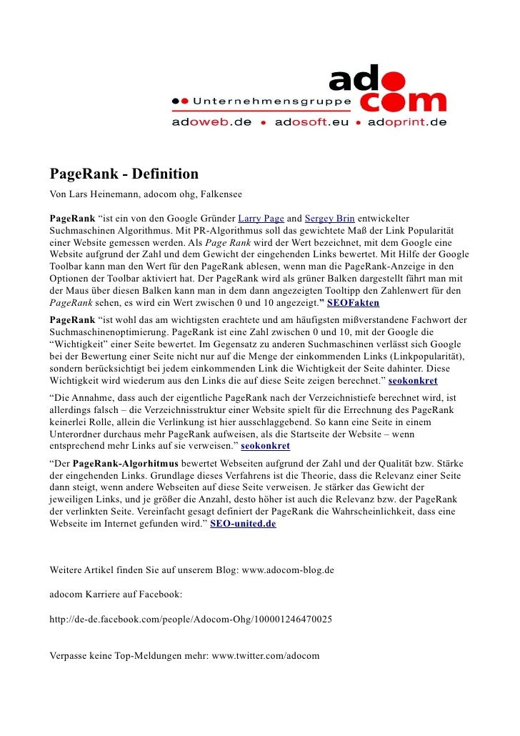 """PageRank - Definition Von Lars Heinemann, adocom ohg, Falkensee  PageRank """"ist ein von den Google Gründer Larry Page and S..."""