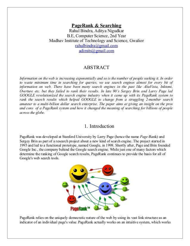 PageRank & Searching                             Rahul Bindra, Aditya Nigudkar                           B.E, Computer Sci...