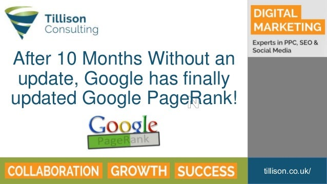 tillison.co.uk/ After 10 Months Without an update, Google has finally updated Google PageRank!