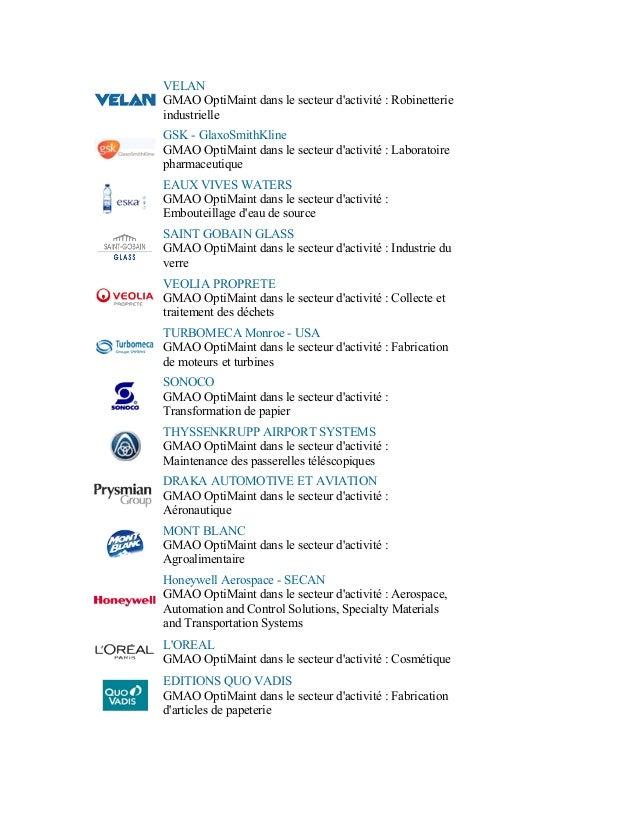 VELANGMAO OptiMaint dans le secteur dactivité : RobinetterieindustrielleGSK - GlaxoSmithKlineGMAO OptiMaint dans le secteu...