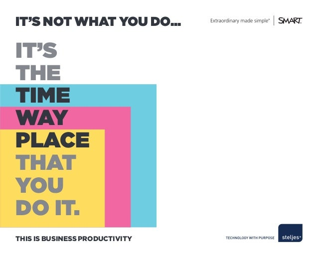 IT'S NOT WHAT YOU DO...IT'STHETIMEWAYPLACETHATYOUDO IT.THIS IS BUSINESS PRODUCTIVITY