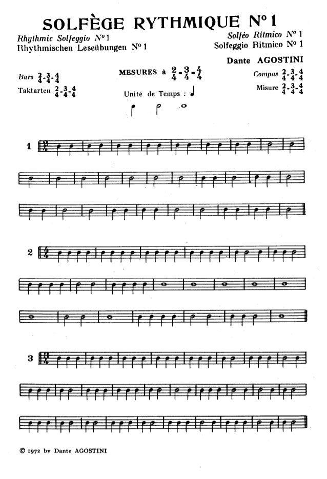 Pages 1 à 7 de etude rythmes -   dante agostini solfege rythmique n°1