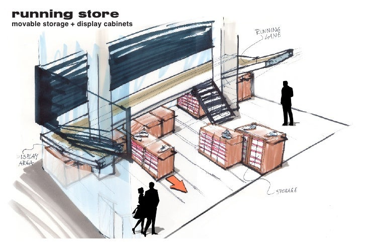 running store movable storage + display cabinets