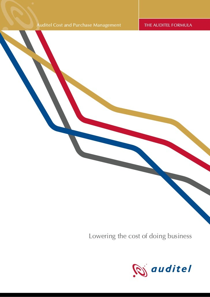 Auditel Cost and Purchase Management    THE AUDITEL FORMULA                      Lowering the cost of doing business