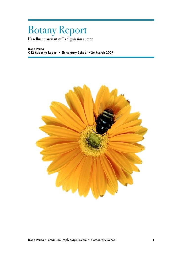 Botany Report Hasellus ut arcu ut nulla dignissim auctor  Trenz Pruca K-12 Mid-term Report • Elementary School • 26 March ...