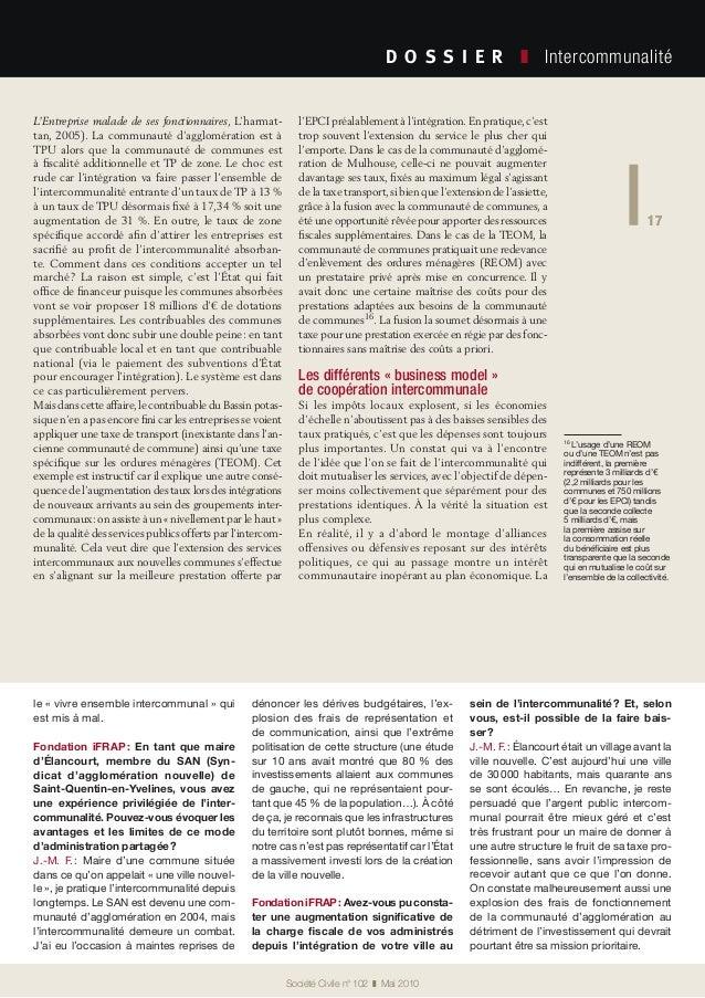 17 Société Civile n° 102 ❚ Mai 2010 D O S S I E R  ❚ Intercommunalité 17 L'Entreprise malade de ses fonctionnaires, L'...
