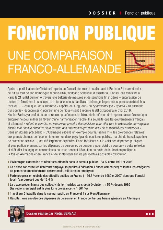 fonction publique une comparaison franco-allemande D O S S I E R  ❚ Fonction publique Société Civile n° 105 ❚ Septembr...
