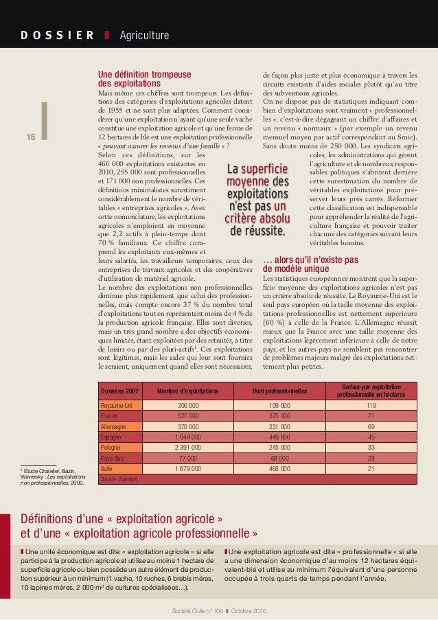 16 Société Civile n° 106 ❚ Octobre 2010 D O S S I E R  ❚ Agriculture 16 Une définition trompeuse des exploitations Mai...