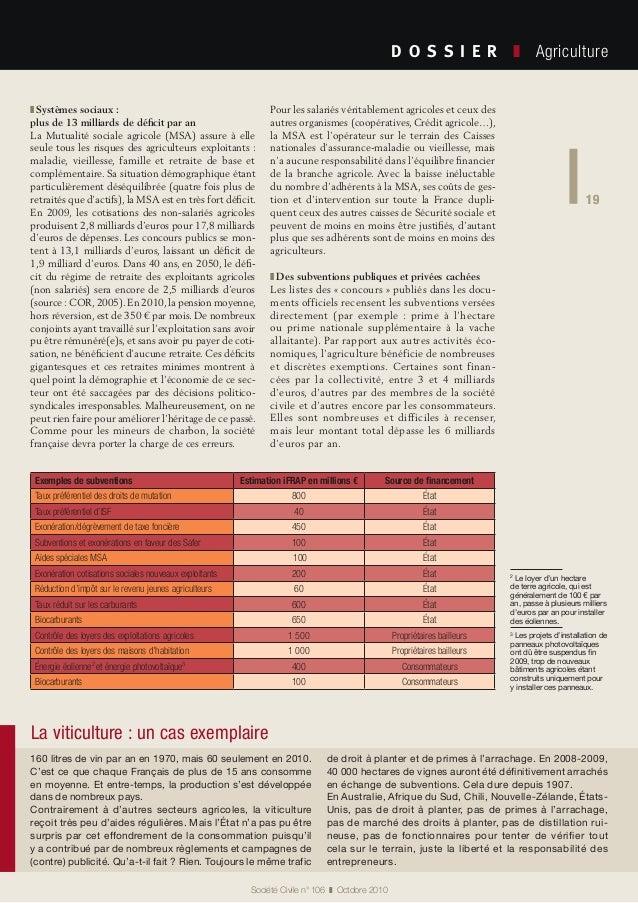 19 Société Civile n° 106 ❚ Octobre 2010 D O S S I E R  ❚ Agriculture 19 Exemples de subventions Estimation iFRAP en mi...