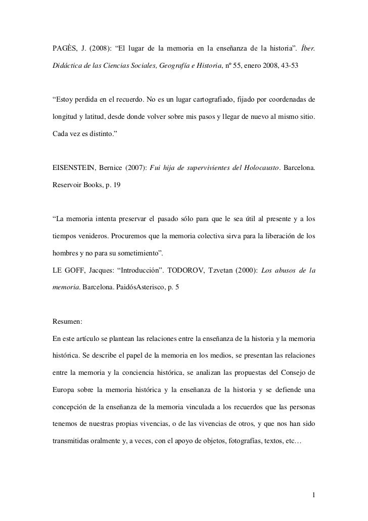 """PAGÈS, J. (2008): """"El lugar de la memoria en la enseñanza de la historia"""". Íber.Didáctica de las Ciencias Sociales, Geogra..."""
