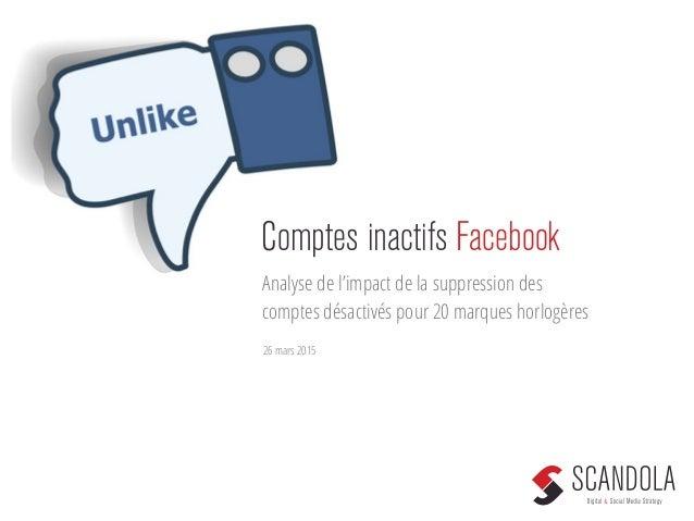 Comptes inactifs Facebook Analyse de l'impact de la suppression des comptes désactivés pour 20 marques horlogères 26 mars ...