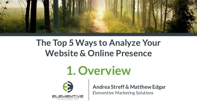 Andrea Streff & Matthew Edgar Elementive Marketing Solutions The Top 5 Ways to Analyze Your Website & Online Presence 1. O...