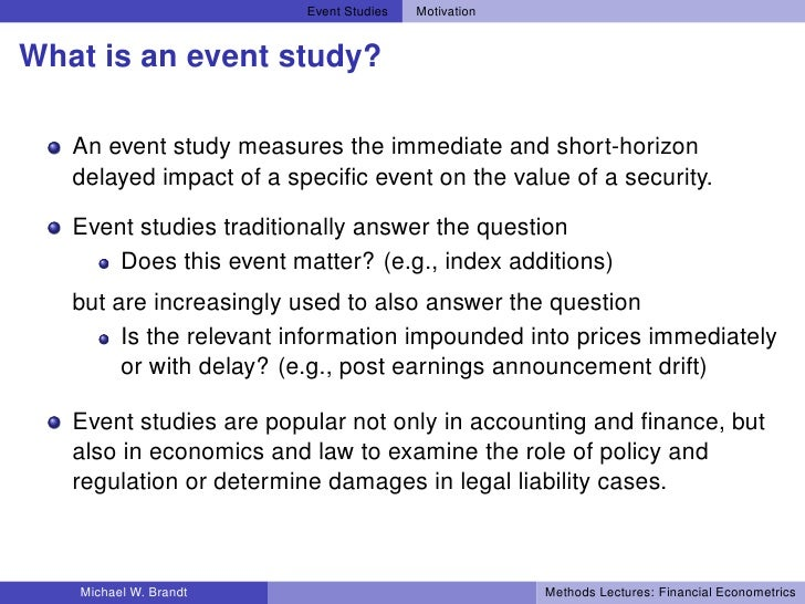 """Econometrics of Event Studies"" - Boston University"