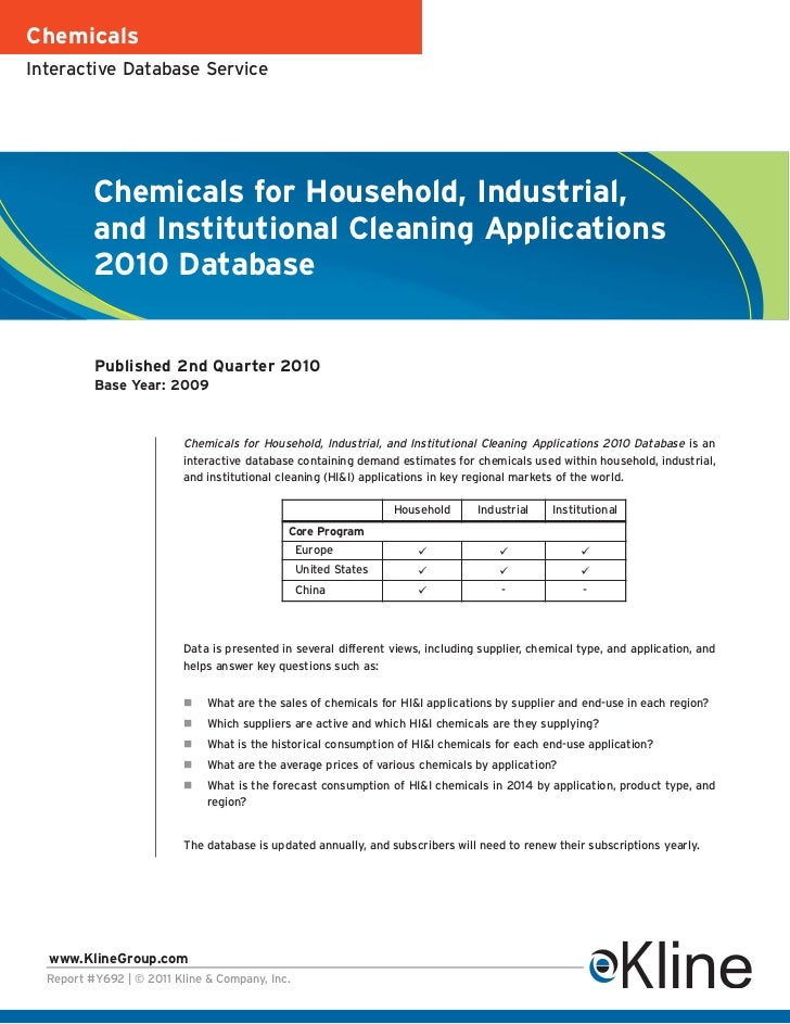 ChemicalsInteractive Database Service          Chemicals for Household, Industrial,          and Institutional Cleaning Ap...