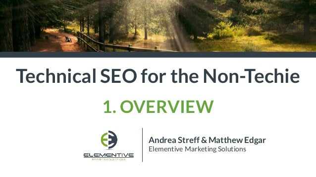 Andrea Streff & Matthew Edgar Elementive Marketing Solutions Technical SEO for the Non-Techie 1. OVERVIEW