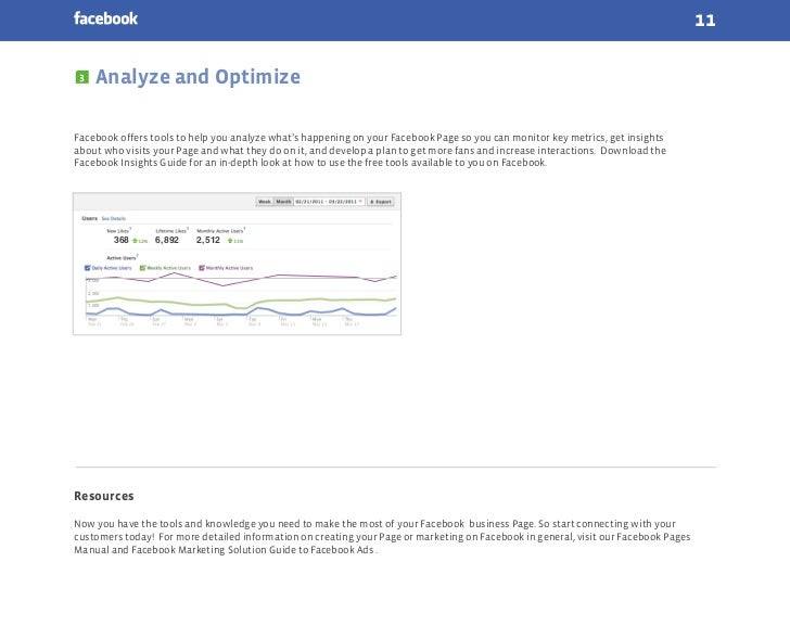11 3      Analyze and OptimizeFacebook offers tools to help you analyze what's happening on your Facebook Page so you can ...