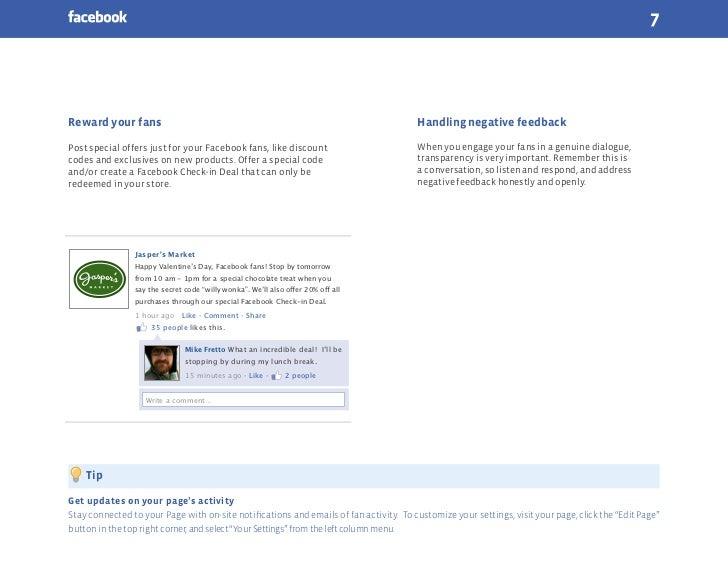 7Reward your fans                                                                        Handling negative feedbackPost sp...