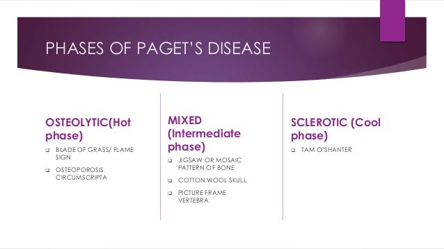PHASES OF PAGET'S DISEASE OSTEOLYTIC(Hot phase)  BLADE OF GRASS/ FLAME SIGN  OSTEOPOROSIS CIRCUMSCRIPTA MIXED (Intermedi...