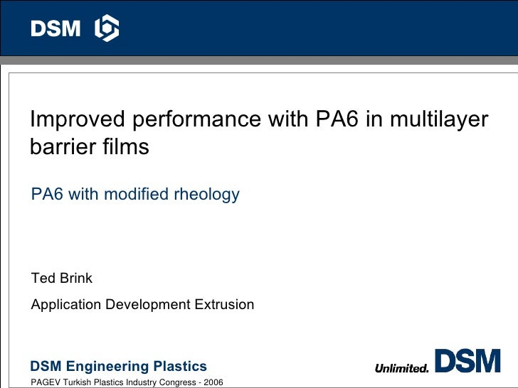 1Improved performance with PA6 in multilayerbarrier filmsPA6 with modified rheologyTed BrinkApplication Development Extrus...