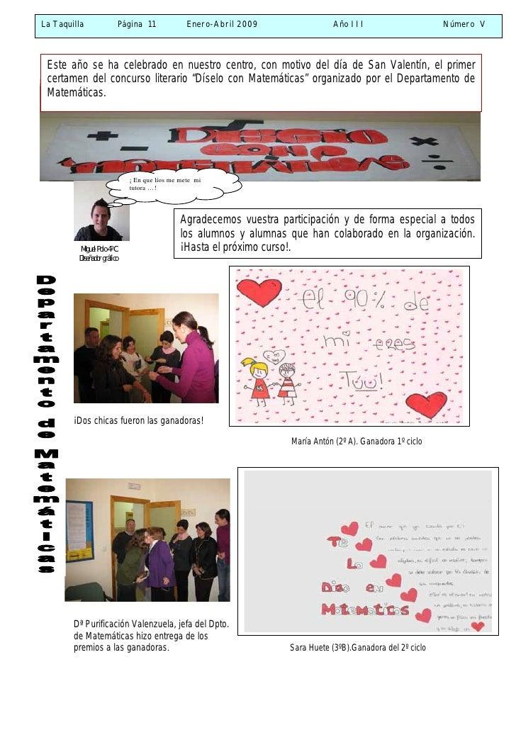 La Taquilla                  Página 11            Enero-Abril 2009                Año III                      Número V   ...