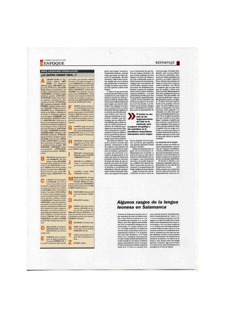 Región Leonesa - Reportaje sobre el Leonés en Salamanca - Pagina2 (Reino de León)