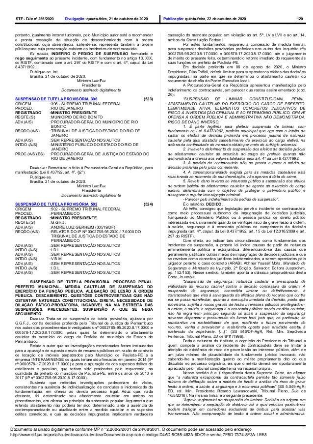 STF - DJe nº 255/2020 Divulgação: quarta-feira, 21 de outubro de 2020 Publicação: quinta-feira, 22 de outubro de 2020 120 ...