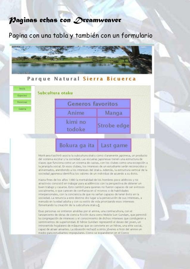 Paginas echas con Dreamweaver Pagina con una tabla y también con un formulario