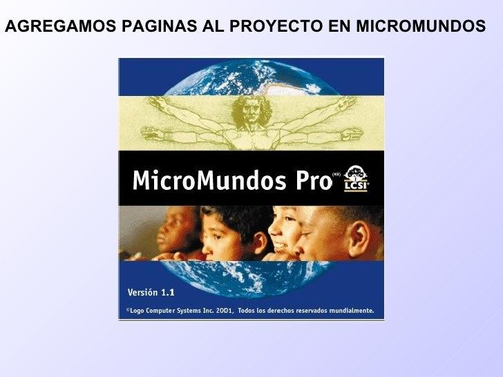 AGREGAMOS PAGINAS AL PROYECTO EN MICROMUNDOS