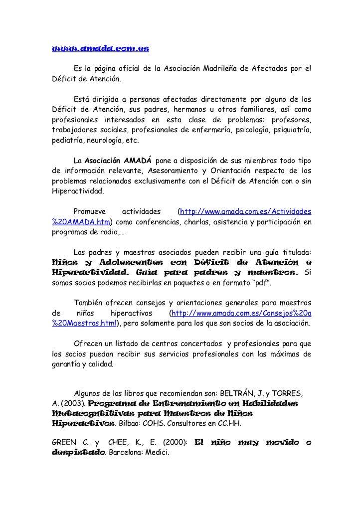 KIRBY, E.A. y GRIMELY, A.K. (1992): Trastorno por Déficit deAtención. México: Limusa.POLAINO-LORENTE, A.  y     otros     ...