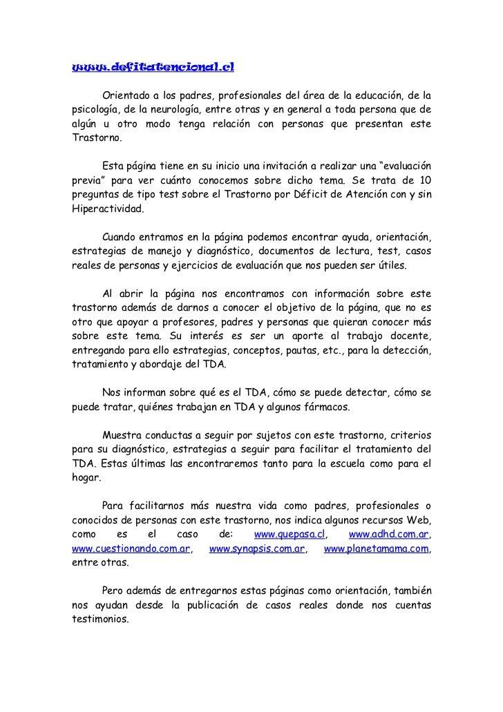 www.defitatencional.cl       Orientado a los padres, profesionales del área de la educación, de lapsicología, de la neurol...