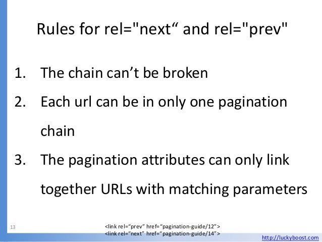 """Rules for rel=""""next"""" and rel=""""prev"""" 1. The chain can't be broken 2. Each url can be in only one pagination     chain 3. Th..."""