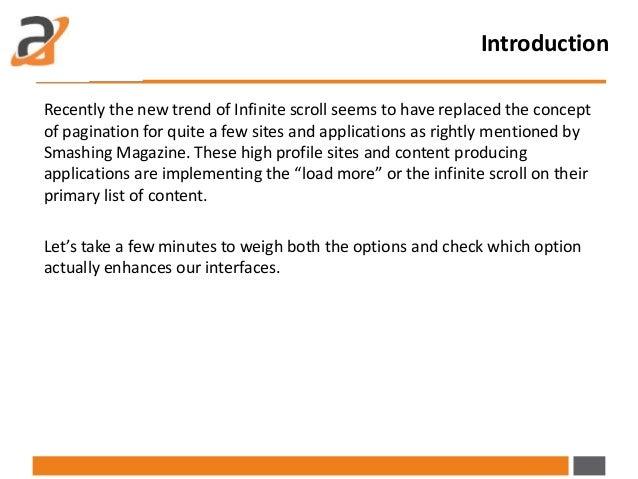 Pagination vs  infinite scroll