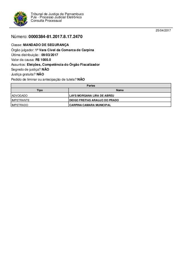 25/04/2017 Número: 0000384-81.2017.8.17.2470 Classe: MANDADO DE SEGURANÇA Órgão julgador: 1ª Vara Cível da Comarca de Carp...