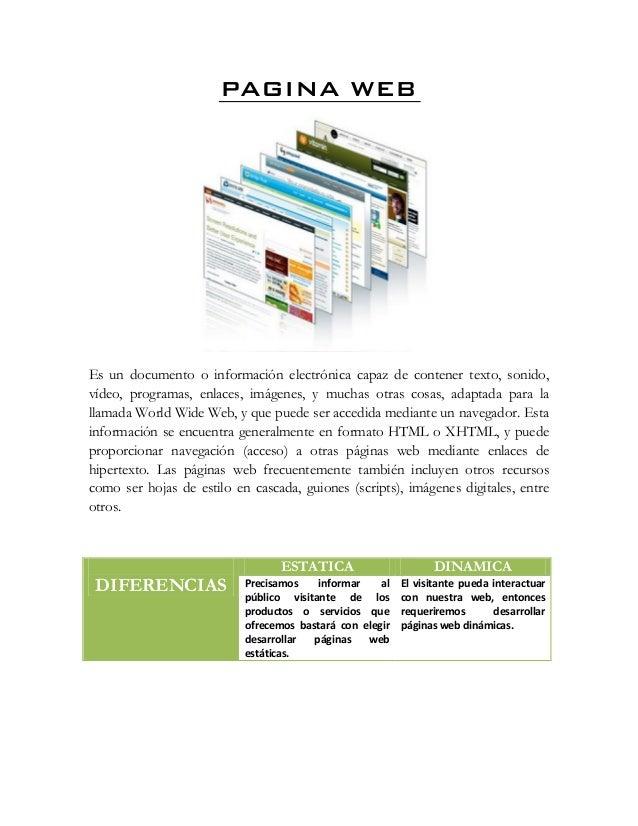 PAGINA WEB Es un documento o información electrónica capaz de contener texto, sonido, vídeo, programas, enlaces, imágenes,...