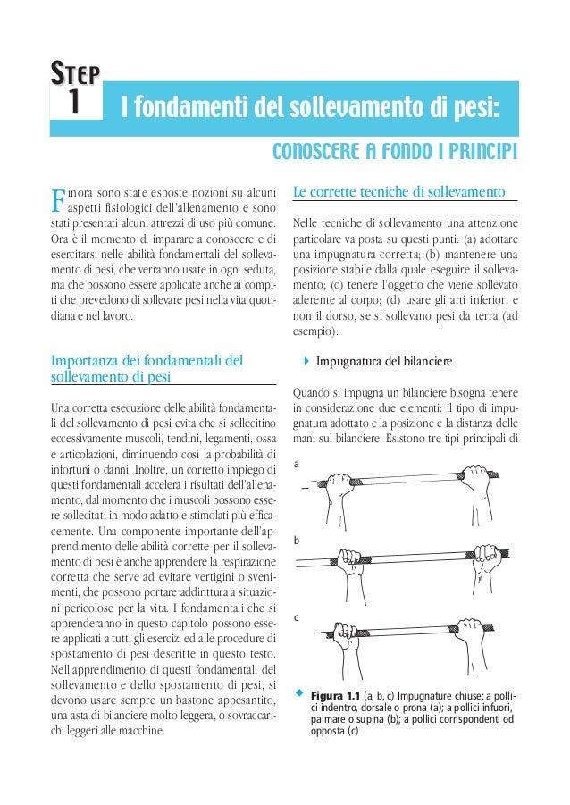 S TEP 1 I fondamenti del sollevamento di pesi: CONOSCERE A FONDO I PRINCIPI inora sono state esposte nozioni su alcuni asp...