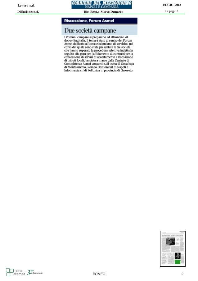 da pag. 501-GIU-2013Diffusione: n.d.Lettori: n.d.Dir. Resp.: Marco DemarcoROMEO 2