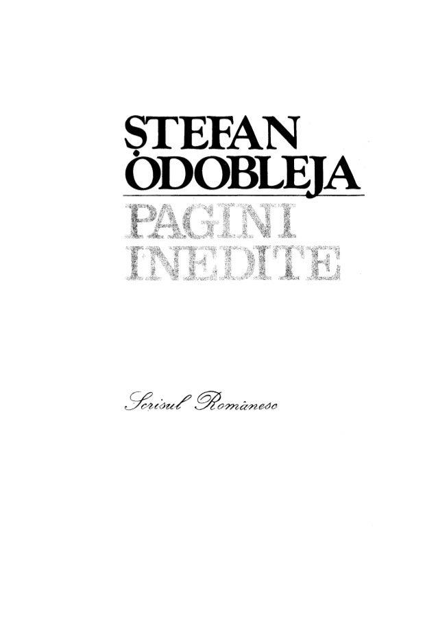 Stefan Odobleja - Pagini inedite