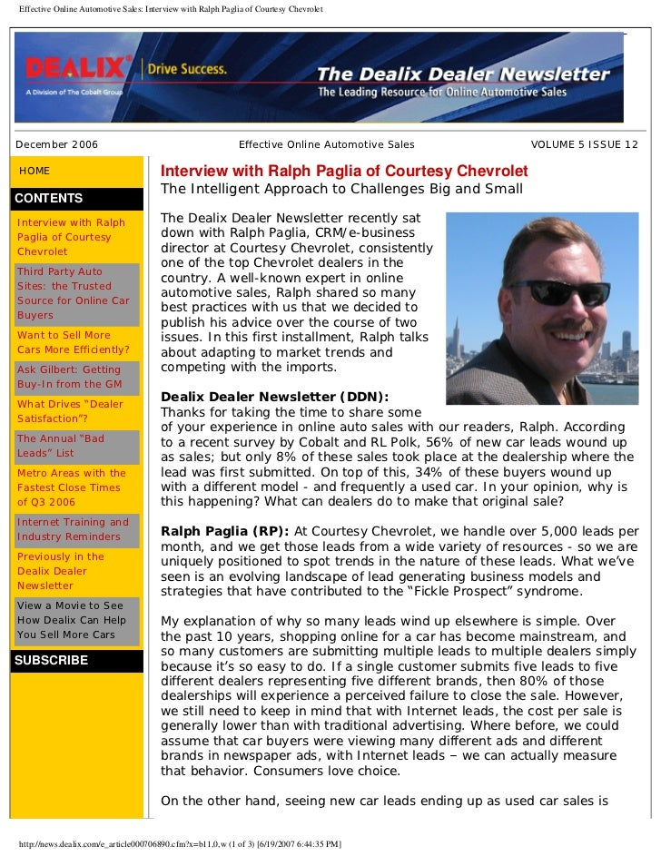 Effective Online Automotive Sales: Interview with Ralph Paglia of Courtesy Chevrolet     December 2006                    ...