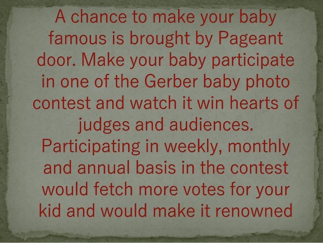 Gerber Baby Photo Contest From Pageantdoor