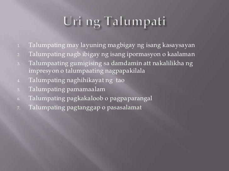 1.   Talumpating may layuning magbigay ng isang kasaysayan2.   Talumpating nagb ibigay ng isang ipormasyon o kaalaman3.   ...